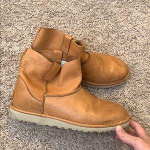 UGG Cognac Leather Short Booties